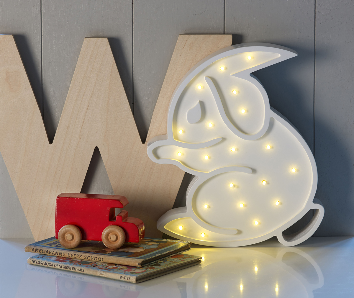 White rabbit england childrens interiors lighting and gifts childrens bedroom light rabbit led kids lights led kids lighting arubaitofo Gallery