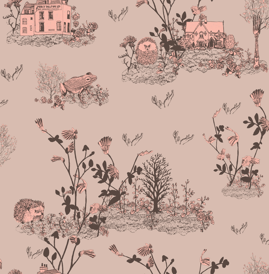 Childrens Woodlands Wallpaper Pink White Rabbit England