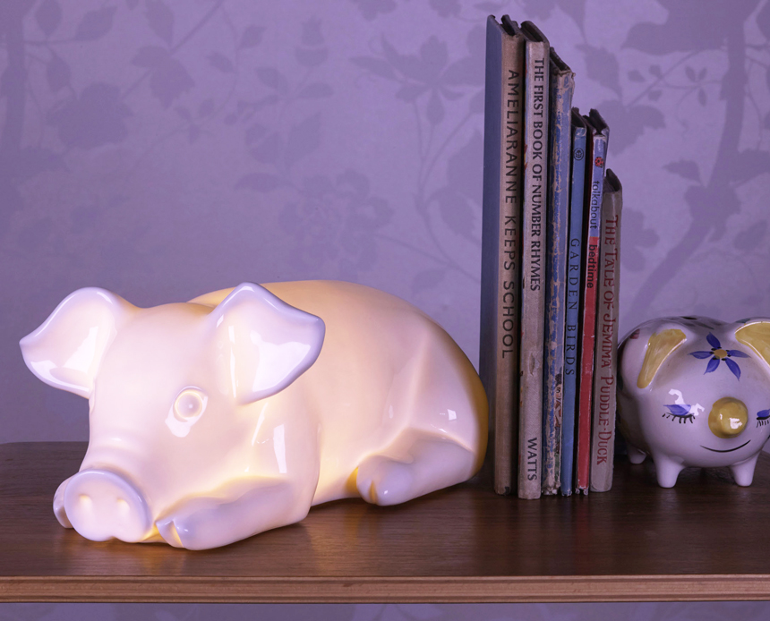 Childrens Pig Lamp White Rabbit England Childrens
