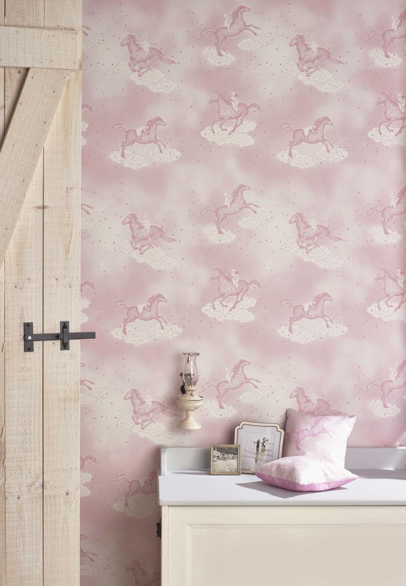 . Childrens Flying horse wallpaper   White Rabbit England Childrens