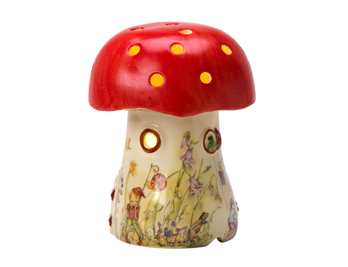 Childrens Red Elf Mushroom Lamp White Rabbit England
